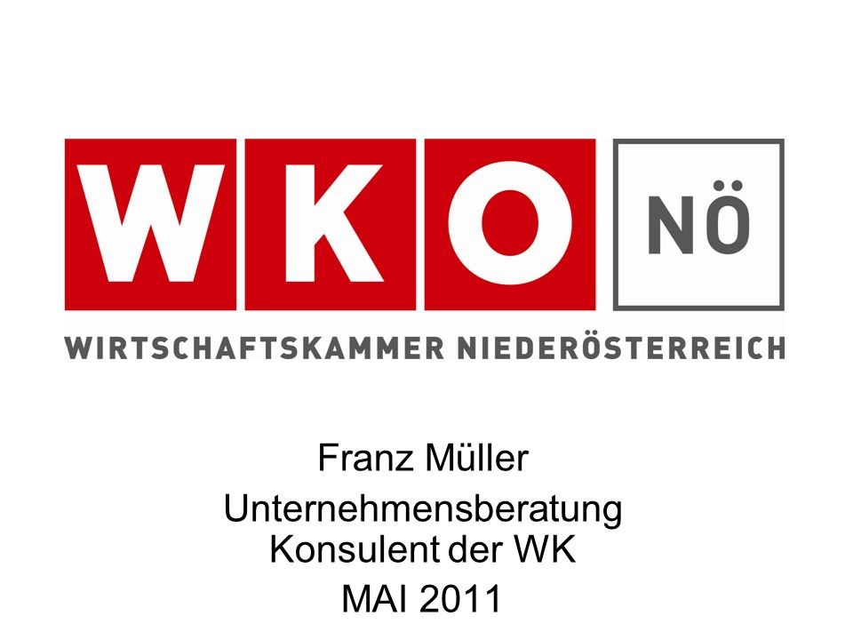 Franz Müller Unternehmensberatung Konsulent der WK MAI 2011
