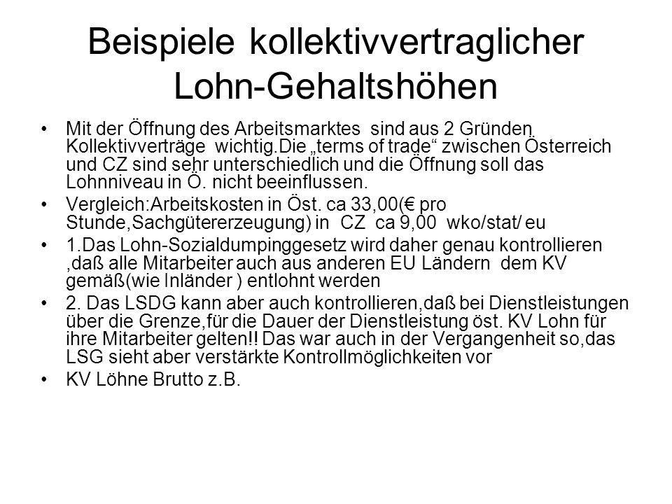 """Beispiele kollektivvertraglicher Lohn-Gehaltshöhen Mit der Öffnung des Arbeitsmarktes sind aus 2 Gründen Kollektivverträge wichtig.Die """"terms of trade zwischen Österreich und CZ sind sehr unterschiedlich und die Öffnung soll das Lohnniveau in Ö."""