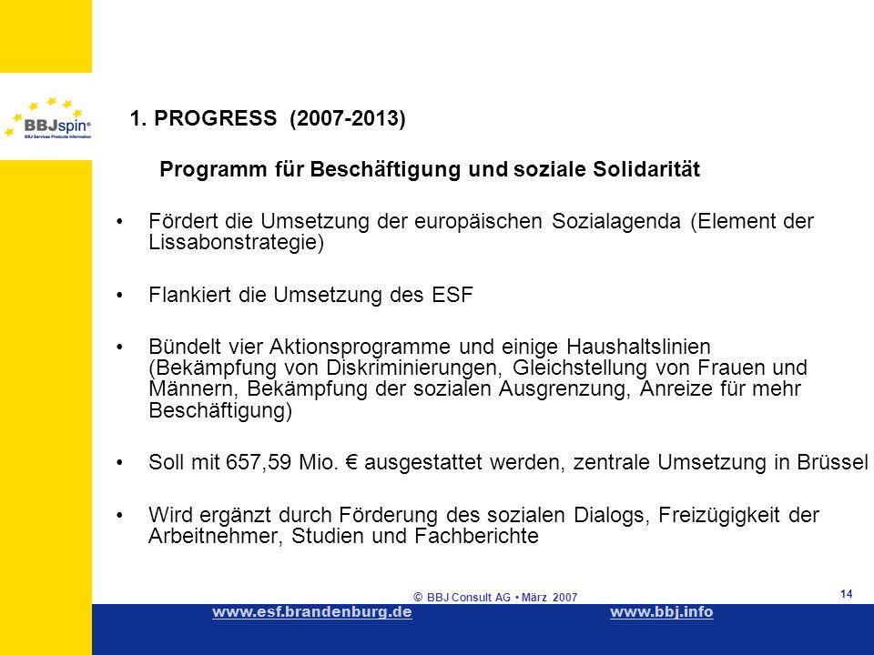 www.esf.brandenburg.dewww.esf.brandenburg.de www.bbj.infowww.bbj.info © BBJ Consult AG März 2007 14 1.
