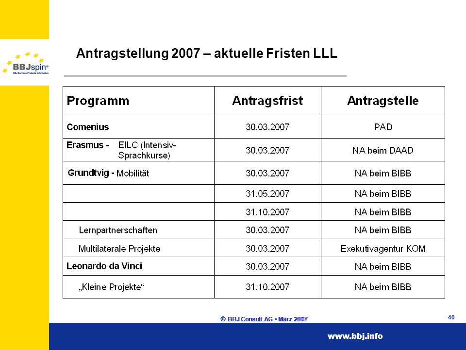 www.esf.brandenburg.dewww.esf.brandenburg.de www.bbj.infowww.bbj.info © BBJ Consult AG März 2007 40 Antragstellung 2007 – aktuelle Fristen LLL © BBJ Consult AG März 2007 40 www.bbj.info