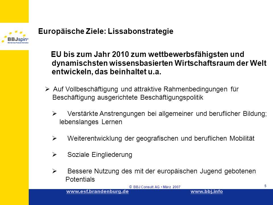 www.esf.brandenburg.dewww.esf.brandenburg.de www.bbj.infowww.bbj.info © BBJ Consult AG März 2007 5 Europäische Ziele: Lissabonstrategie EU bis zum Jahr 2010 zum wettbewerbsfähigsten und dynamischsten wissensbasierten Wirtschaftsraum der Welt entwickeln, das beinhaltet u.a.