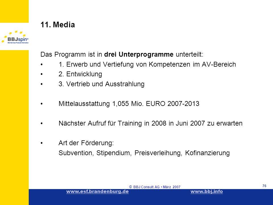 www.esf.brandenburg.dewww.esf.brandenburg.de www.bbj.infowww.bbj.info © BBJ Consult AG März 2007 76 11.