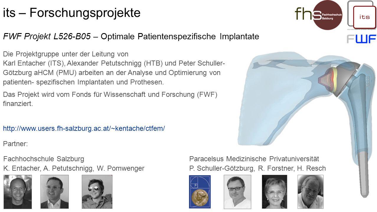 its – Forschungsprojekte Entwicklung und Betreuung am Studiengang durch Sabine Klausner