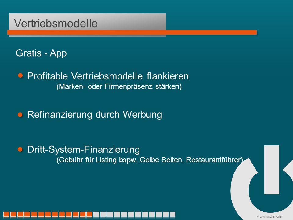 www.onwerk.de Vertriebsmodelle Profitable Vertriebsmodelle flankieren (Marken- oder Firmenpräsenz stärken) Refinanzierung durch Werbung Dritt-System-Finanzierung (Gebühr für Listing bspw.