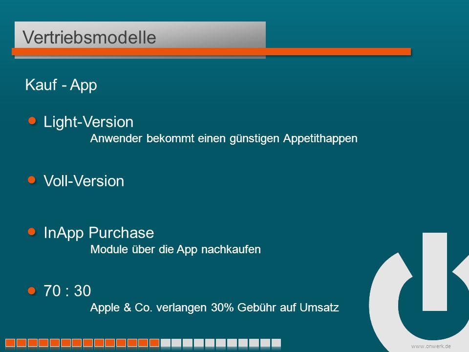 www.onwerk.de Vertriebsmodelle Light-Version Anwender bekommt einen günstigen Appetithappen Voll-Version InApp Purchase Module über die App nachkaufen Kauf - App 70 : 30 Apple & Co.