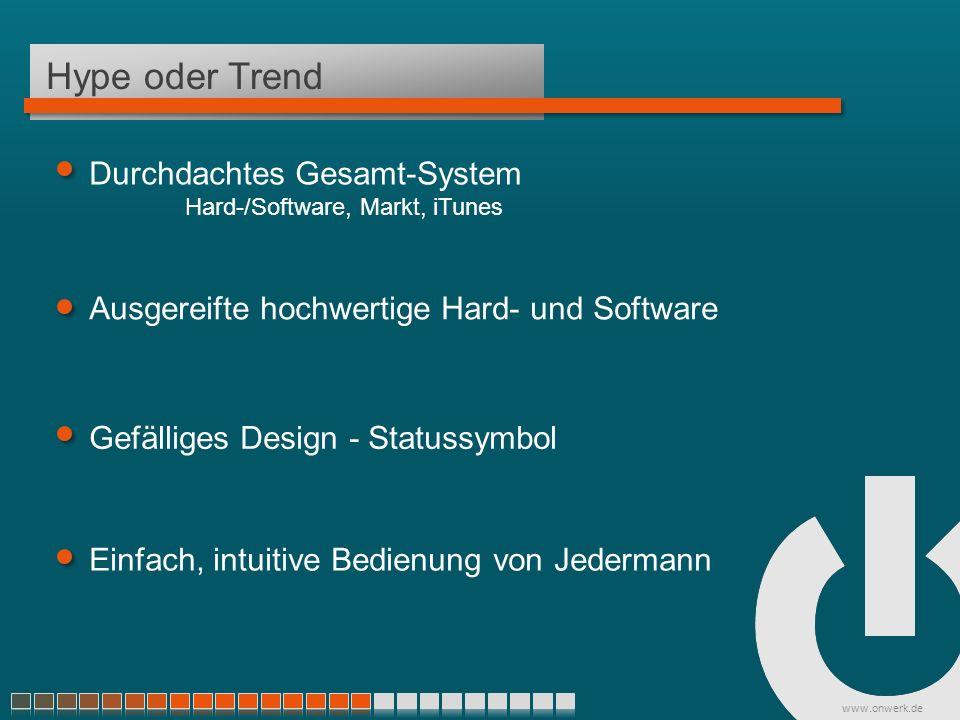 www.onwerk.de Hype oder Trend Ausgereifte hochwertige Hard- und Software Gefälliges Design - Statussymbol Einfach, intuitive Bedienung von Jedermann Durchdachtes Gesamt-System Hard-/Software, Markt, iTunes