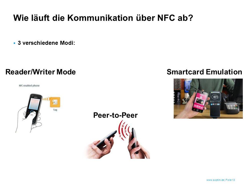 www.soptim.de | Folie 13  3 verschiedene Modi: Wie läuft die Kommunikation über NFC ab.