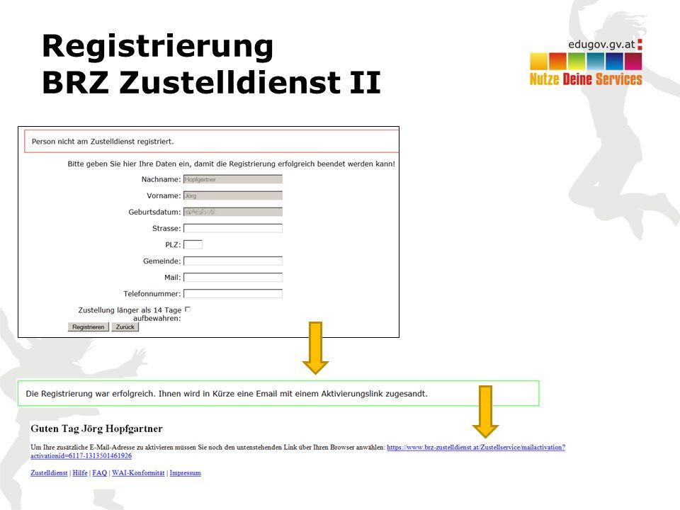 Registrierung BRZ Zustelldienst II