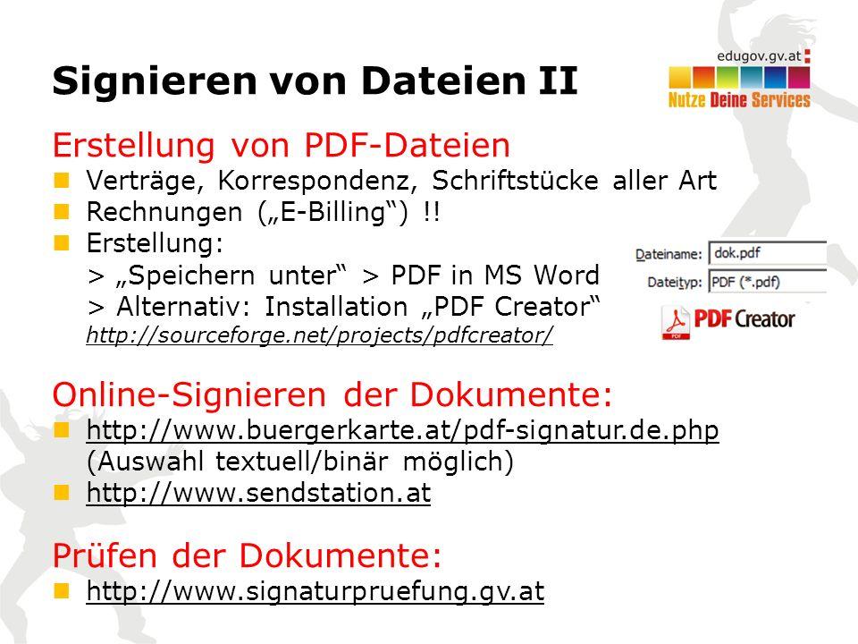 """Signieren von Dateien II Erstellung von PDF-Dateien Verträge, Korrespondenz, Schriftstücke aller Art Rechnungen (""""E-Billing ) !."""