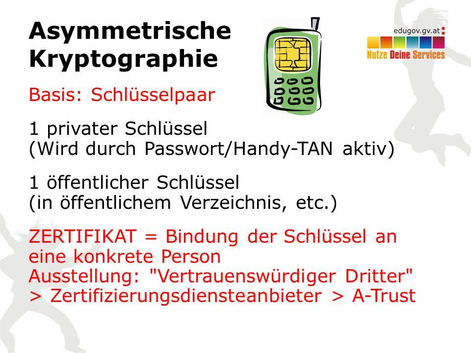 Asymmetrische Kryptographie Basis: Schlüsselpaar 1 privater Schlüssel (Wird durch Passwort/Handy-TAN aktiv) 1 öffentlicher Schlüssel (in öffentlichem Verzeichnis, etc.) ZERTIFIKAT = Bindung der Schlüssel an eine konkrete Person Ausstellung: Vertrauenswürdiger Dritter > Zertifizierungsdiensteanbieter > A-Trust