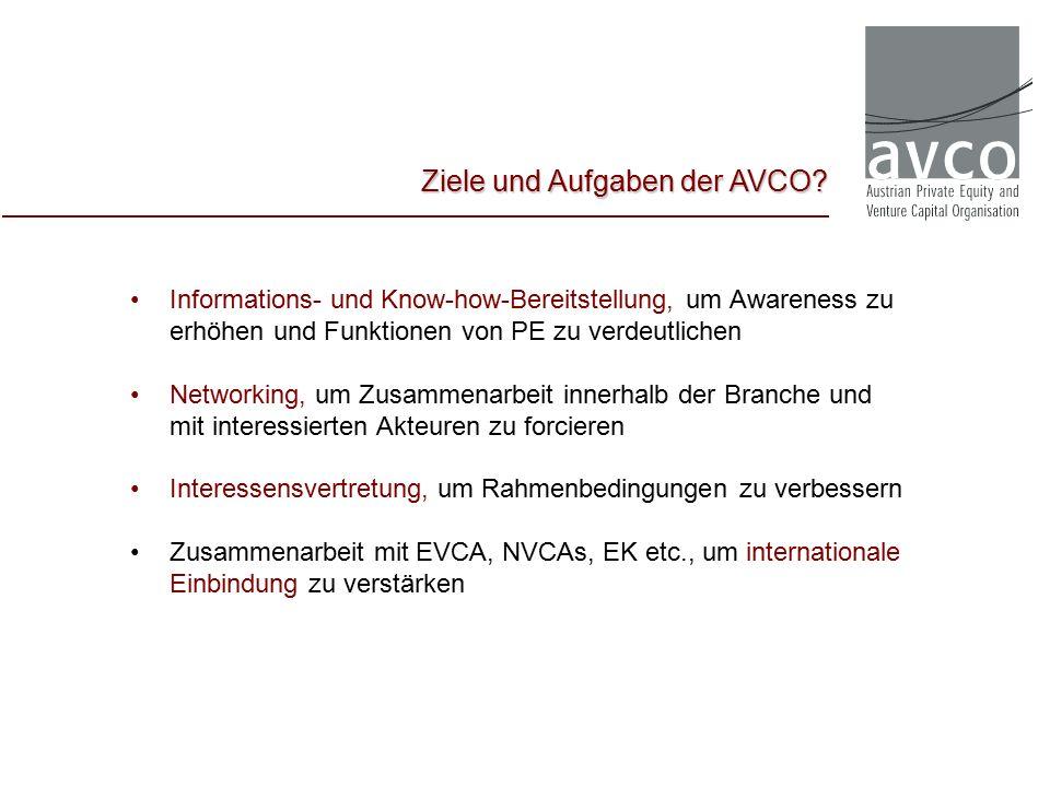 Informations- und Know-how-Bereitstellung, um Awareness zu erhöhen und Funktionen von PE zu verdeutlichen Networking, um Zusammenarbeit innerhalb der Branche und mit interessierten Akteuren zu forcieren Interessensvertretung, um Rahmenbedingungen zu verbessern Zusammenarbeit mit EVCA, NVCAs, EK etc., um internationale Einbindung zu verstärken Ziele und Aufgaben der AVCO