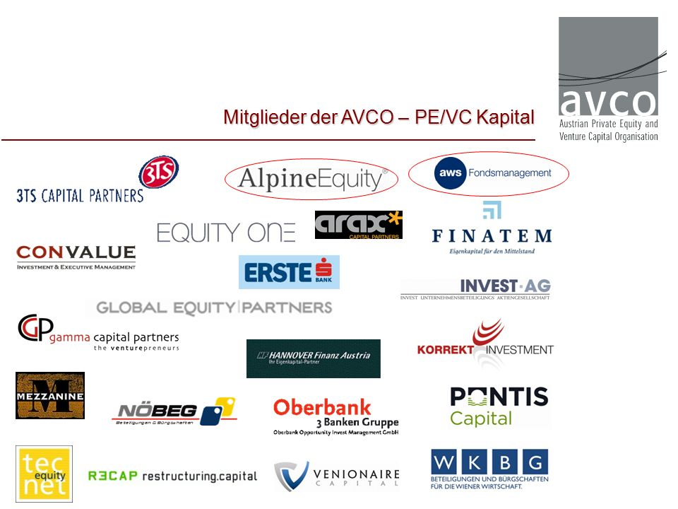 Investments 2012 / 2013 Branchen: PE & VC Österreichische Fonds Quelle: EVCA PEREP_Analytics   AVCO (Mai 2014) Private Equity & Venture Capital in Österreich in %
