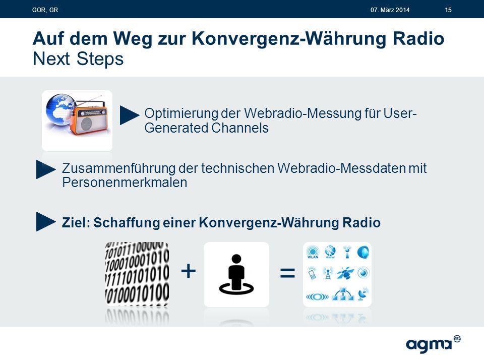 Auf dem Weg zur Konvergenz-Währung Radio Next Steps Optimierung der Webradio-Messung für User- Generated Channels Zusammenführung der technischen Webradio-Messdaten mit Personenmerkmalen Ziel: Schaffung einer Konvergenz-Währung Radio + = 1507.