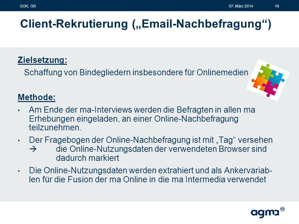 """Client-Rekrutierung (""""Email-Nachbefragung ) Zielsetzung: Schaffung von Bindegliedern insbesondere für Onlinemedien Methode: Am Ende der ma-Interviews werden die Befragten in allen ma Erhebungen eingeladen, an einer Online-Nachbefragung teilzunehmen."""