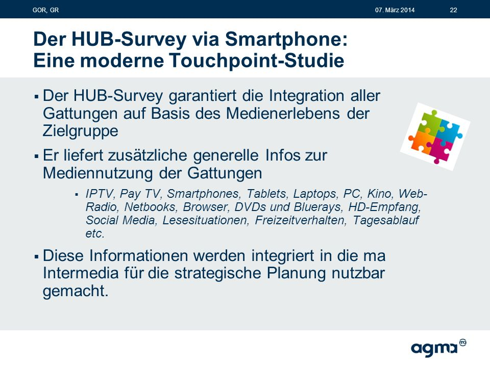 Der HUB-Survey via Smartphone: Eine moderne Touchpoint-Studie  Der HUB-Survey garantiert die Integration aller Gattungen auf Basis des Medienerlebens der Zielgruppe  Er liefert zusätzliche generelle Infos zur Mediennutzung der Gattungen  IPTV, Pay TV, Smartphones, Tablets, Laptops, PC, Kino, Web- Radio, Netbooks, Browser, DVDs und Bluerays, HD-Empfang, Social Media, Lesesituationen, Freizeitverhalten, Tagesablauf etc.