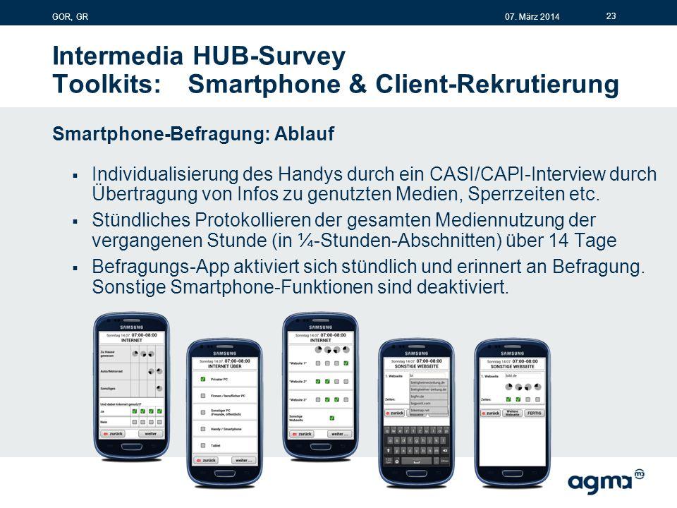 Intermedia HUB-Survey Toolkits:Smartphone & Client-Rekrutierung Smartphone-Befragung: Ablauf  Individualisierung des Handys durch ein CASI/CAPI-Interview durch Übertragung von Infos zu genutzten Medien, Sperrzeiten etc.
