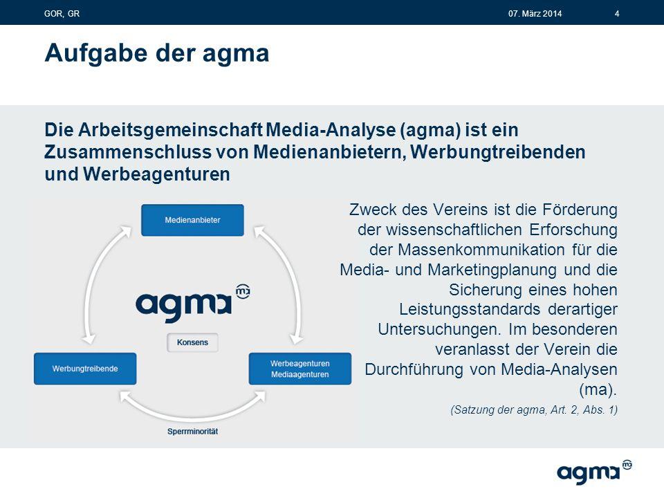 Aufgabe der agma Die Arbeitsgemeinschaft Media-Analyse (agma) ist ein Zusammenschluss von Medienanbietern, Werbungtreibenden und Werbeagenturen Zweck des Vereins ist die Förderung der wissenschaftlichen Erforschung der Massenkommunikation für die Media- und Marketingplanung und die Sicherung eines hohen Leistungsstandards derartiger Untersuchungen.