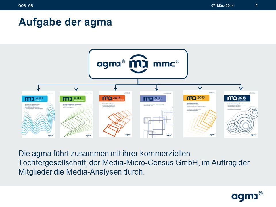 Aufgabe der agma Die agma führt zusammen mit ihrer kommerziellen Tochtergesellschaft, der Media-Micro-Census GmbH, im Auftrag der Mitglieder die Media-Analysen durch.