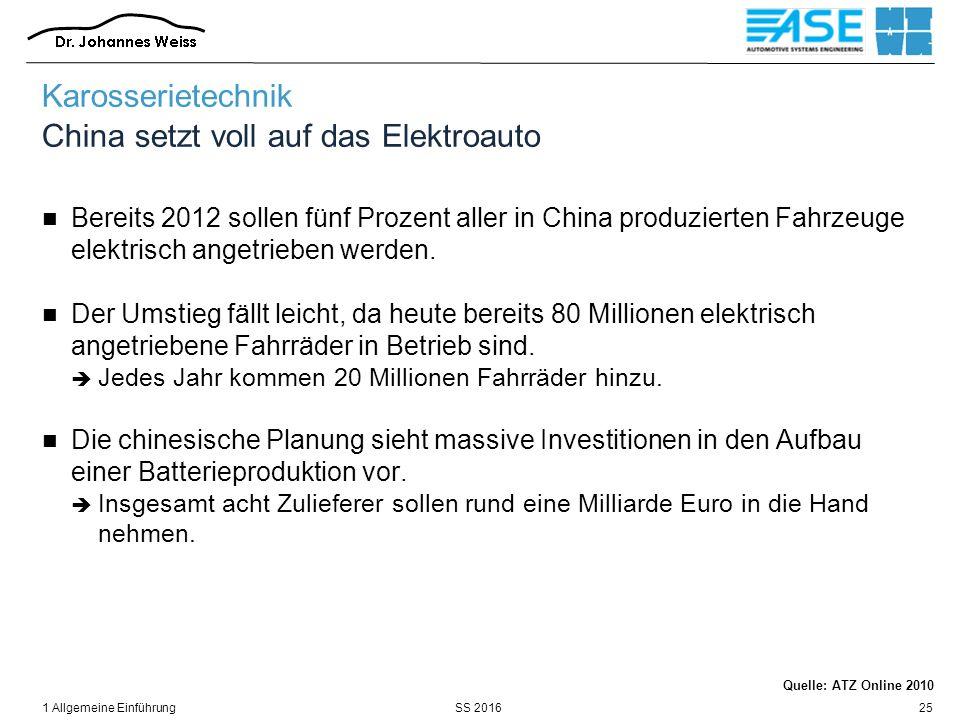 SS 20161 Allgemeine Einführung25 Karosserietechnik China setzt voll auf das Elektroauto Bereits 2012 sollen fünf Prozent aller in China produzierten F