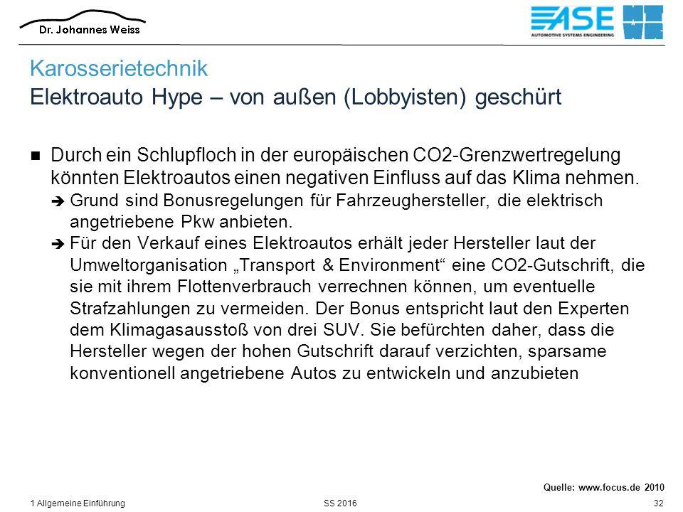 SS 20161 Allgemeine Einführung32 Karosserietechnik Elektroauto Hype – von außen (Lobbyisten) geschürt Durch ein Schlupfloch in der europäischen CO2-Grenzwertregelung könnten Elektroautos einen negativen Einfluss auf das Klima nehmen.