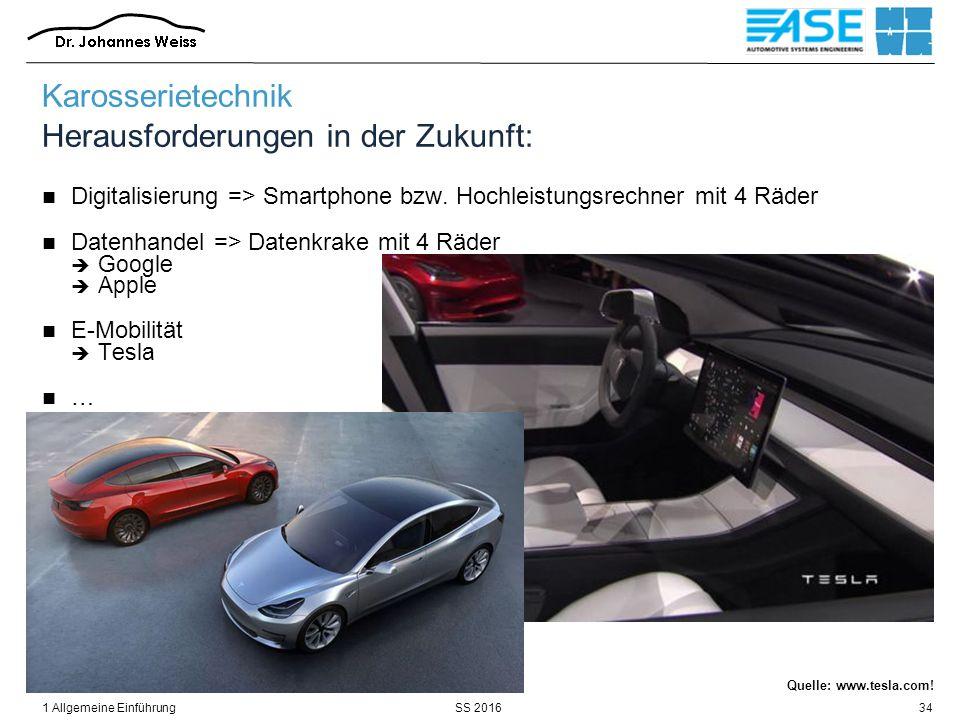 SS 20161 Allgemeine Einführung34 Karosserietechnik Herausforderungen in der Zukunft: Digitalisierung => Smartphone bzw. Hochleistungsrechner mit 4 Räd