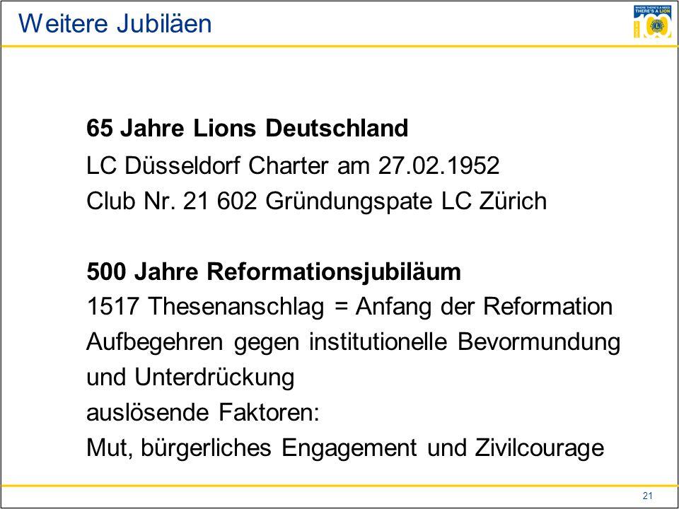 21 Weitere Jubiläen 65 Jahre Lions Deutschland LC Düsseldorf Charter am 27.02.1952 Club Nr.