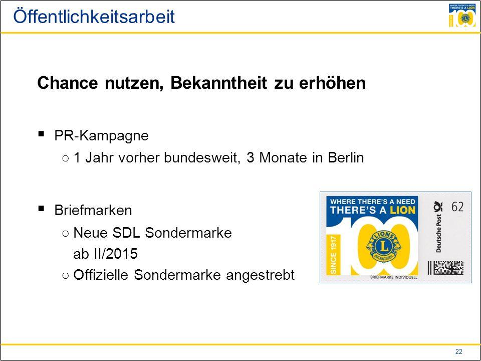 22 Öffentlichkeitsarbeit Chance nutzen, Bekanntheit zu erhöhen  PR-Kampagne ○1 Jahr vorher bundesweit, 3 Monate in Berlin  Briefmarken ○Neue SDL Sondermarke ab II/2015 ○Offizielle Sondermarke angestrebt