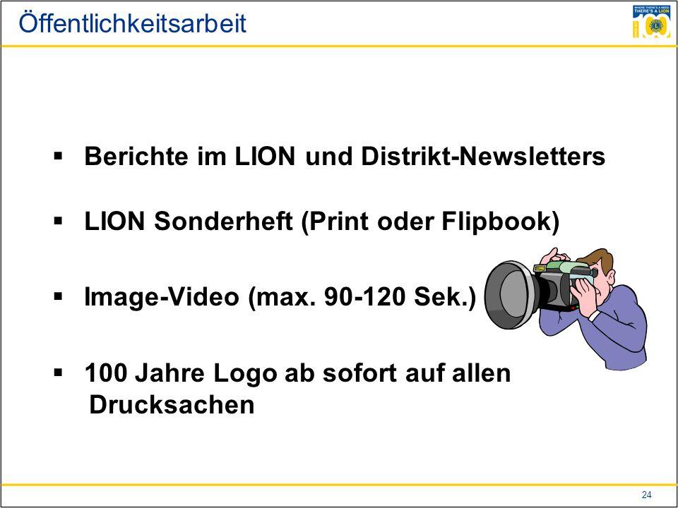 24 Öffentlichkeitsarbeit  Berichte im LION und Distrikt-Newsletters  LION Sonderheft (Print oder Flipbook)  Image-Video (max.