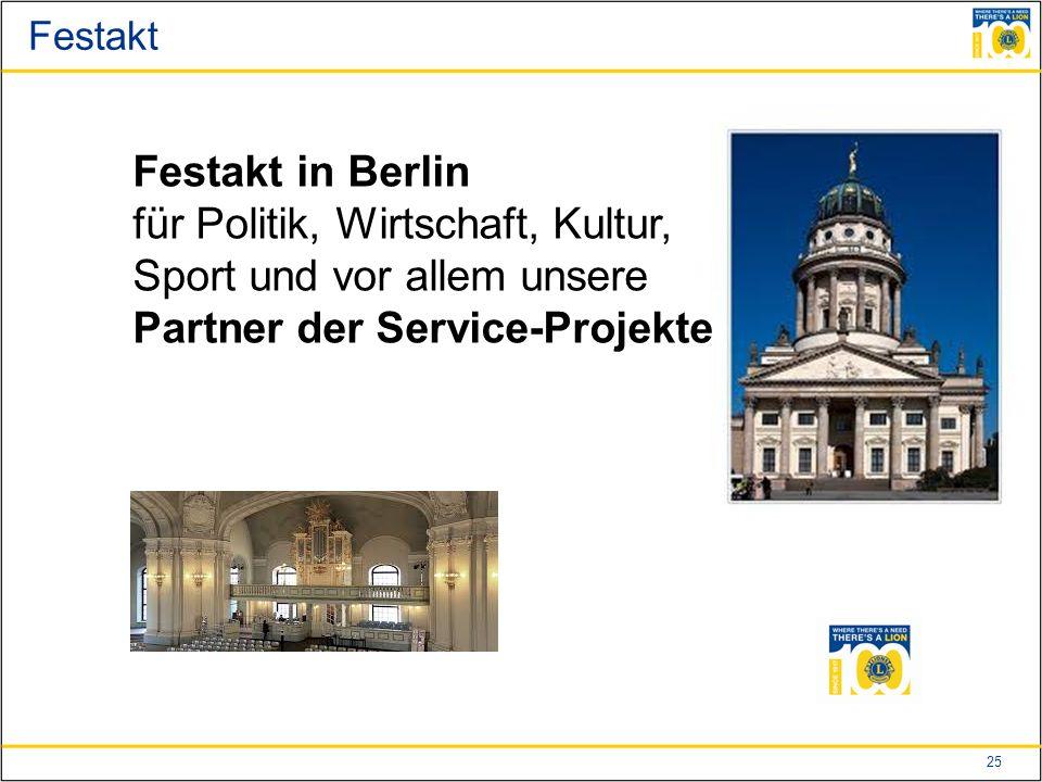 25 Festakt Festakt in Berlin für Politik, Wirtschaft, Kultur, Sport und vor allem unsere Partner der Service-Projekte