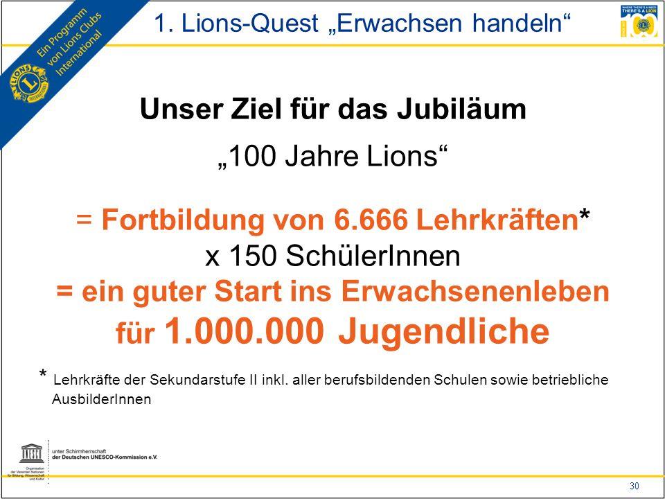"""30 Unser Ziel für das Jubiläum """"100 Jahre Lions = Fortbildung von 6.666 Lehrkräften* x 150 SchülerInnen = ein guter Start ins Erwachsenenleben für 1.000.000 Jugendliche * Lehrkräfte der Sekundarstufe II inkl."""