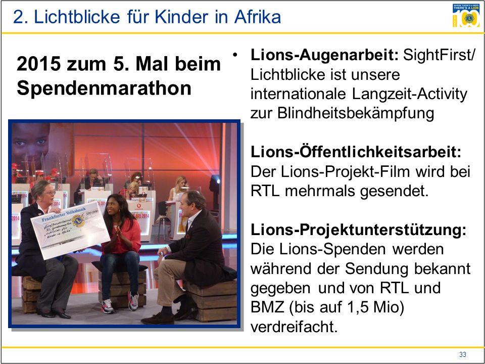 33 Lions-Augenarbeit: SightFirst/ Lichtblicke ist unsere internationale Langzeit-Activity zur Blindheitsbekämpfung Lions-Öffentlichkeitsarbeit: Der Lions-Projekt-Film wird bei RTL mehrmals gesendet.