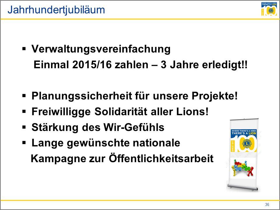 36 Jahrhundertjubiläum  Verwaltungsvereinfachung Einmal 2015/16 zahlen – 3 Jahre erledigt!.