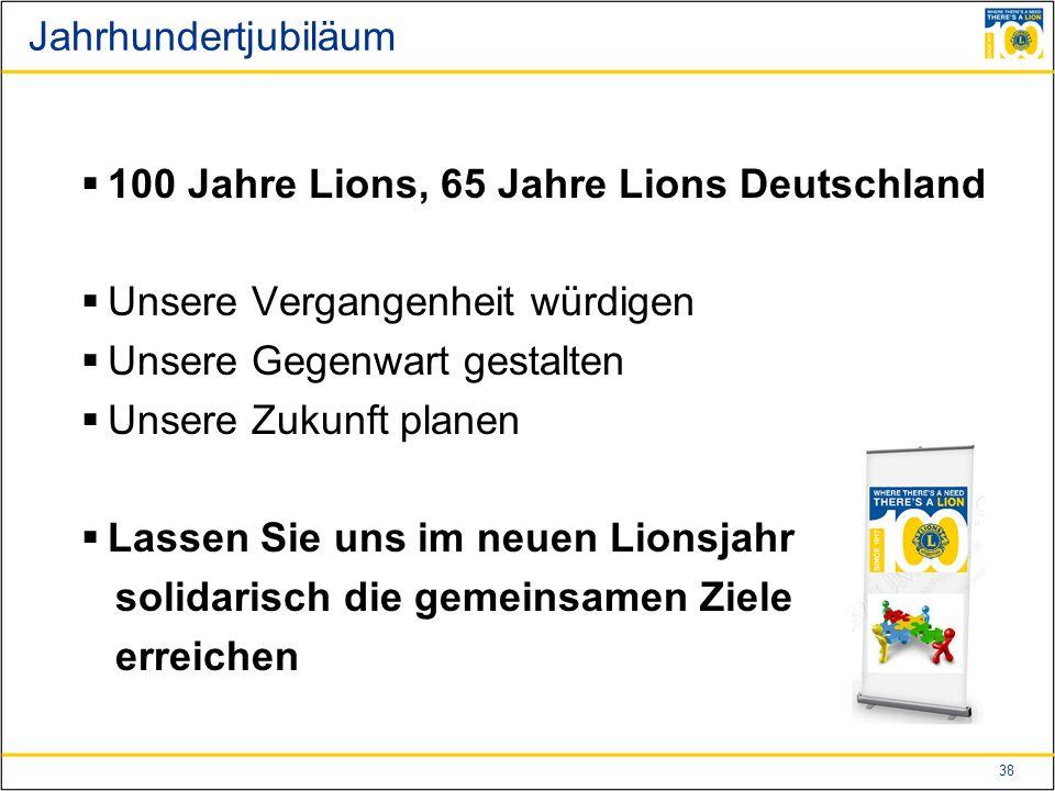 38 Jahrhundertjubiläum  100 Jahre Lions, 65 Jahre Lions Deutschland  Unsere Vergangenheit würdigen  Unsere Gegenwart gestalten  Unsere Zukunft planen  Lassen Sie uns im neuen Lionsjahr solidarisch die gemeinsamen Ziele erreichen