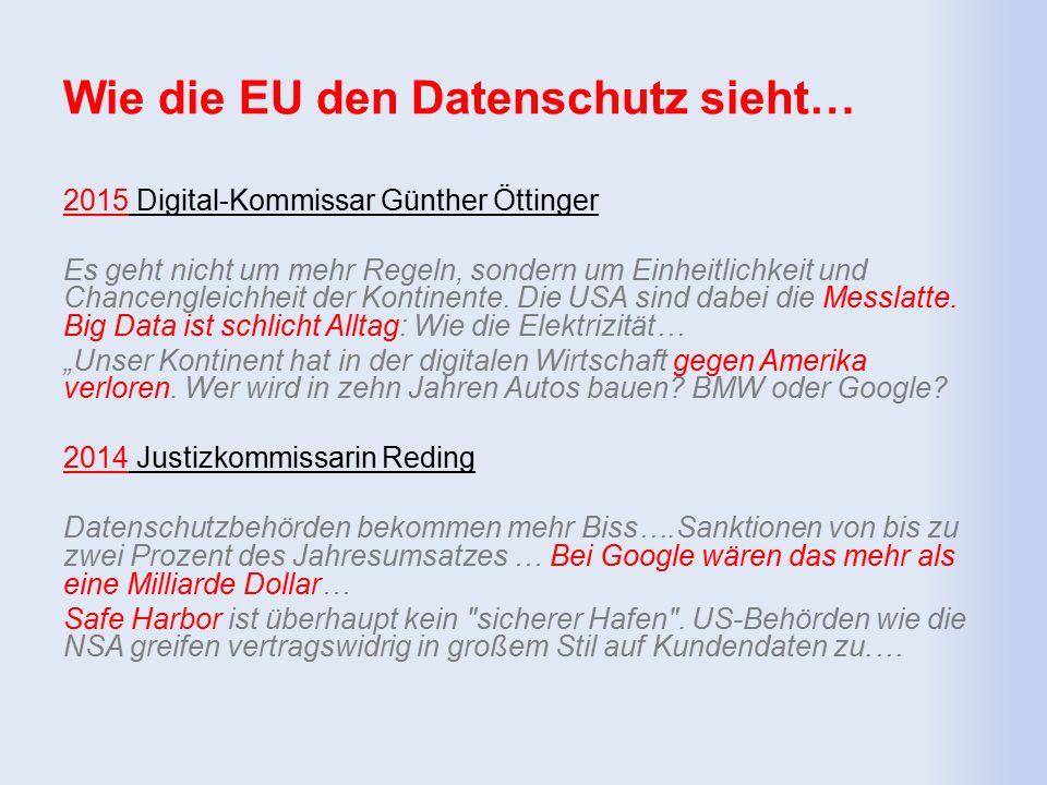 Wie die EU den Datenschutz sieht… 2015 Digital-Kommissar Günther Öttinger Es geht nicht um mehr Regeln, sondern um Einheitlichkeit und Chancengleichheit der Kontinente.