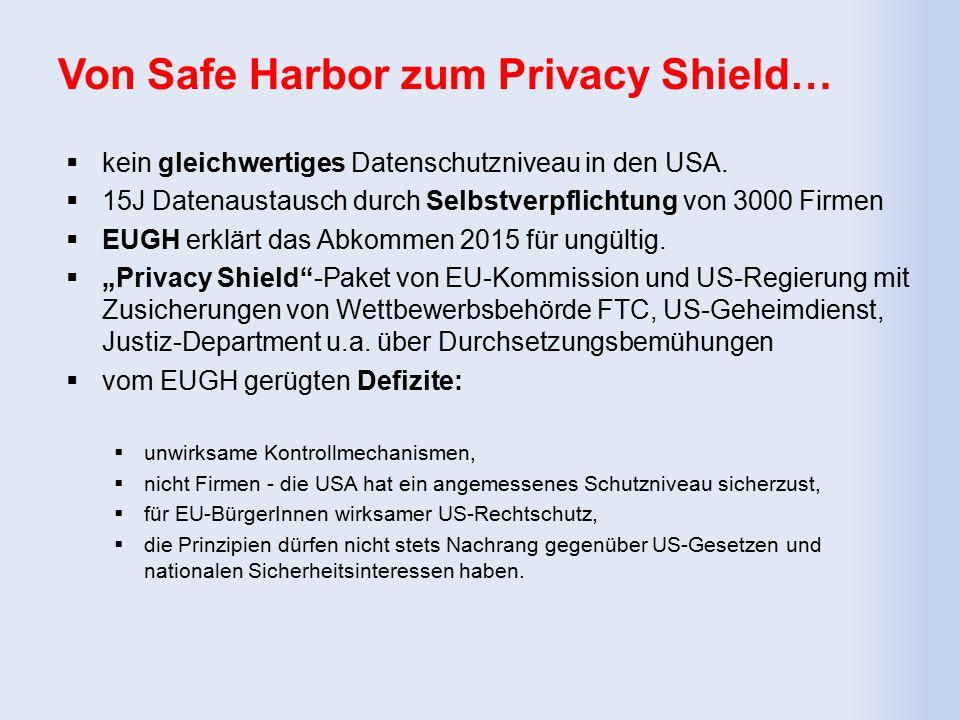 Von Safe Harbor zum Privacy Shield…  kein gleichwertiges Datenschutzniveau in den USA.