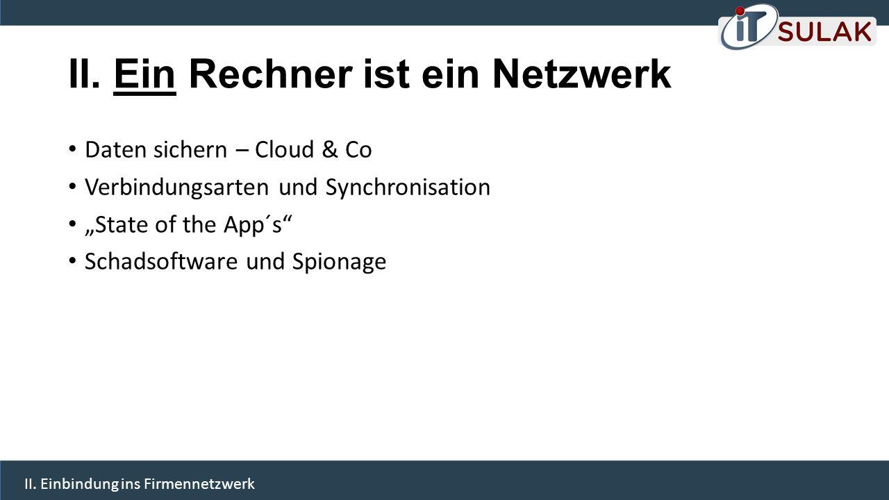 """II. Ein Rechner ist ein Netzwerk Daten sichern – Cloud & Co Verbindungsarten und Synchronisation """"State of the App´s"""" Schadsoftware und Spionage II. E"""
