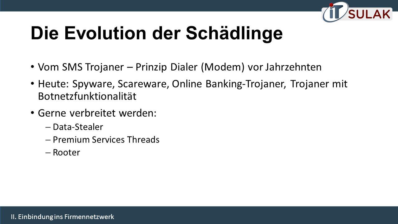 Die Evolution der Schädlinge Vom SMS Trojaner – Prinzip Dialer (Modem) vor Jahrzehnten Heute: Spyware, Scareware, Online Banking-Trojaner, Trojaner mi