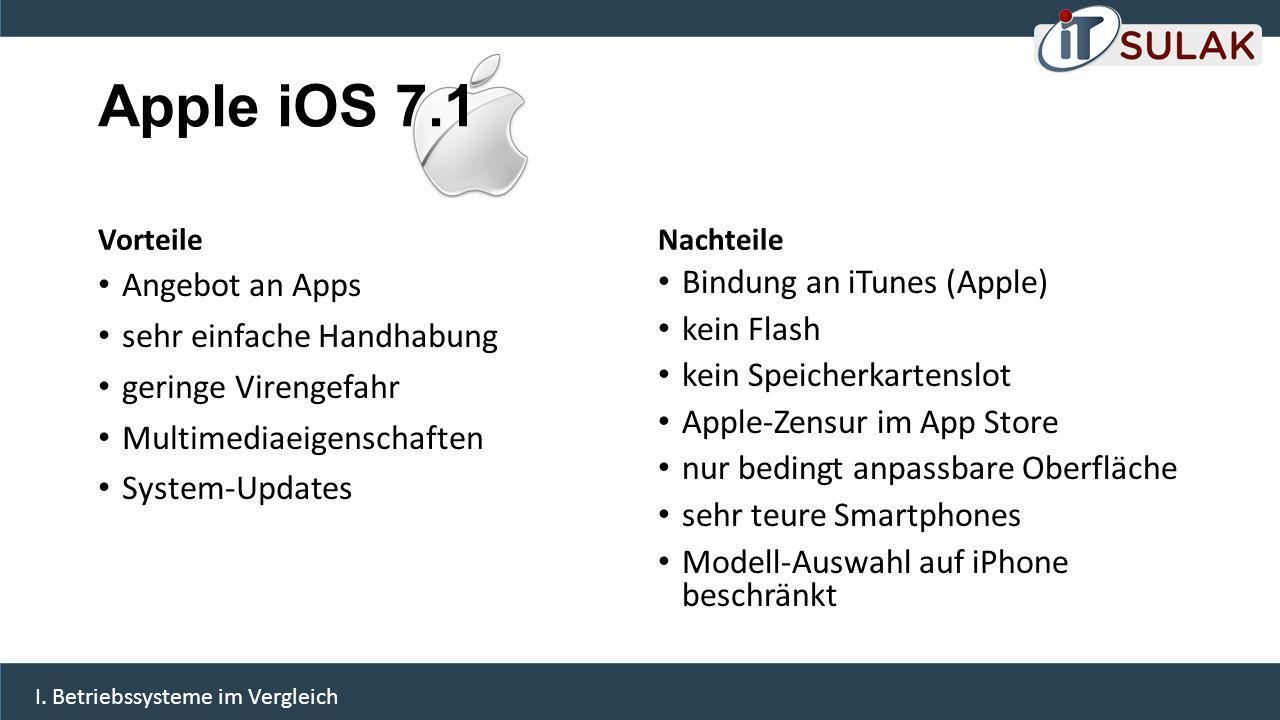 Apple iOS 7.1 Vorteile Angebot an Apps sehr einfache Handhabung geringe Virengefahr Multimediaeigenschaften System-Updates Nachteile Bindung an iTunes