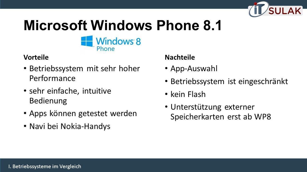 Microsoft Windows Phone 8.1 Vorteile Betriebssystem mit sehr hoher Performance sehr einfache, intuitive Bedienung Apps können getestet werden Navi bei