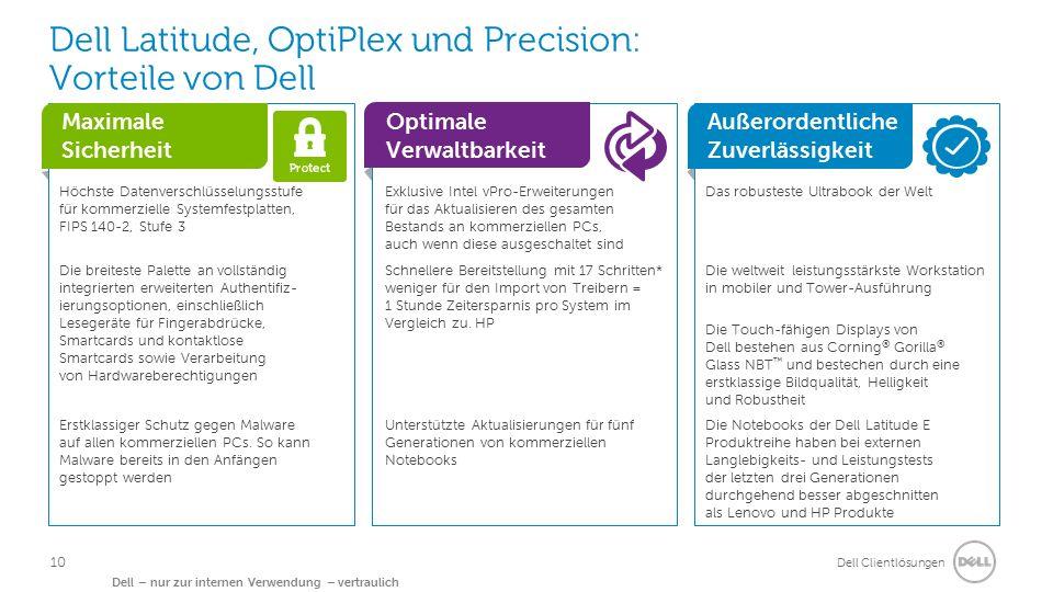 Dell Clientlösungen Dell – nur zur internen Verwendung – vertraulich Dell Latitude, OptiPlex und Precision: Vorteile von Dell Maximale Sicherheit Optimale Verwaltbarkeit Außerordentliche Zuverlässigkeit Höchste Datenverschlüsselungsstufe für kommerzielle Systemfestplatten, FIPS 140-2, Stufe 3 Exklusive Intel vPro-Erweiterungen für das Aktualisieren des gesamten Bestands an kommerziellen PCs, auch wenn diese ausgeschaltet sind Das robusteste Ultrabook der Welt Die breiteste Palette an vollständig integrierten erweiterten Authentifiz- ierungsoptionen, einschließlich Lesegeräte für Fingerabdrücke, Smartcards und kontaktlose Smartcards sowie Verarbeitung von Hardwareberechtigungen Schnellere Bereitstellung mit 17 Schritten* weniger für den Import von Treibern = 1 Stunde Zeitersparnis pro System im Vergleich zu.