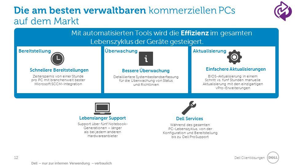Dell Clientlösungen Dell – nur zur internen Verwendung – vertraulich Die am besten verwaltbaren kommerziellen PCs auf dem Markt Mit automatisierten Tools wird die Effizienz im gesamten Lebenszyklus der Geräte gesteigert.