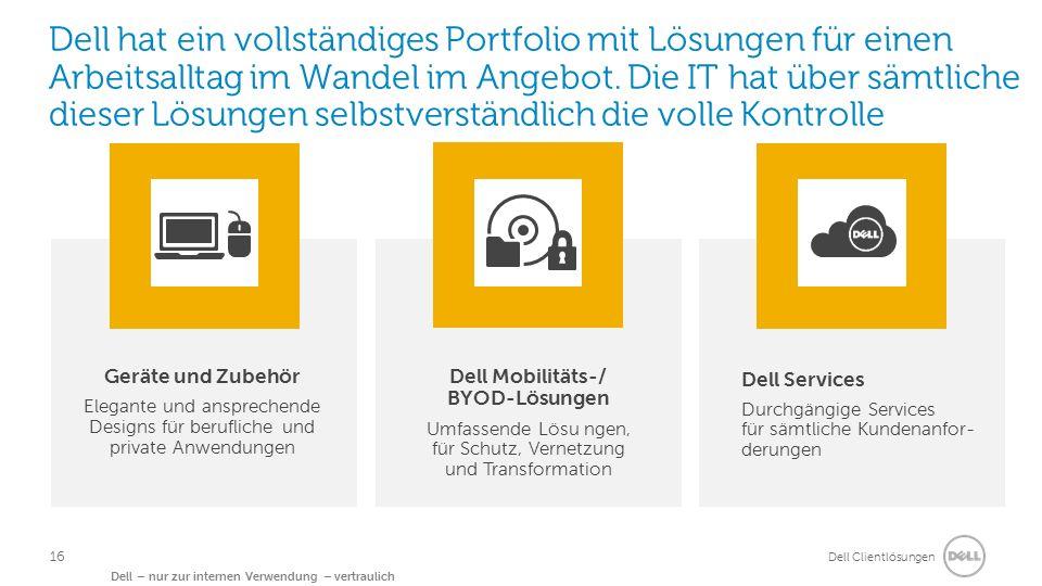 Dell Clientlösungen Dell – nur zur internen Verwendung – vertraulich Dell hat ein vollständiges Portfolio mit Lösungen für einen Arbeitsalltag im Wandel im Angebot.