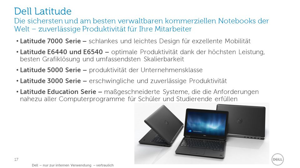 Dell Clientlösungen Dell – nur zur internen Verwendung – vertraulich 17 Dell Latitude Die sichersten und am besten verwaltbaren kommerziellen Notebook