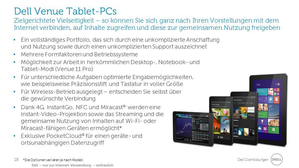 Dell Clientlösungen Dell – nur zur internen Verwendung – vertraulich *Die Optionen variieren je nach Modell. Dell Venue Tablet-PCs Zielgerichtete Viel