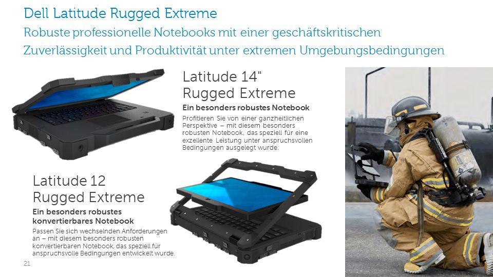 21 Latitude 14 Rugged Extreme Ein besonders robustes Notebook Profitieren Sie von einer ganzheitlichen Perspektive – mit diesem besonders robusten Notebook, das speziell für eine exzellente Leistung unter anspruchsvollen Bedingungen ausgelegt wurde.