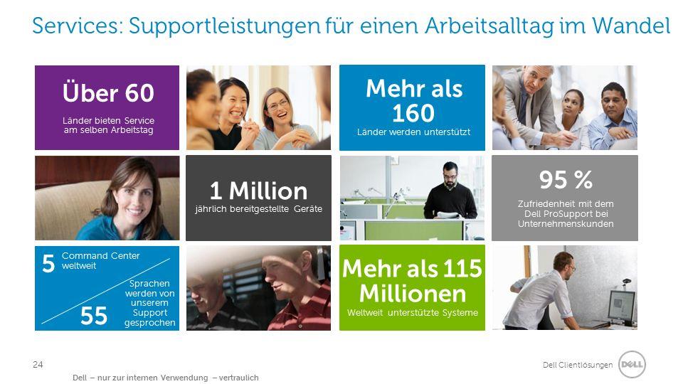Dell Clientlösungen Dell – nur zur internen Verwendung – vertraulich Services: Supportleistungen für einen Arbeitsalltag im Wandel Über 60 Länder biet