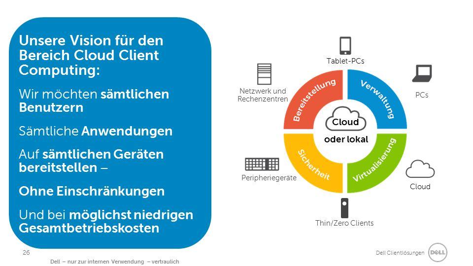 Dell Clientlösungen Dell – nur zur internen Verwendung – vertraulich Unsere Vision für den Bereich Cloud Client Computing: Wir möchten sämtlichen Benutzern Sämtliche Anwendungen Auf sämtlichen Geräten bereitstellen – Ohne Einschränkungen Und bei möglichst niedrigen Gesamtbetriebskosten oder lokal Cloud Thin/Zero Clients Tablet-PCs Netzwerk und Rechenzentren Cloud PCs Peripheriegeräte 26