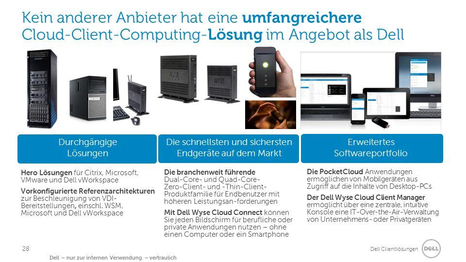Dell Clientlösungen Dell – nur zur internen Verwendung – vertraulich Kein anderer Anbieter hat eine umfangreichere Cloud-Client-Computing-Lösung im An