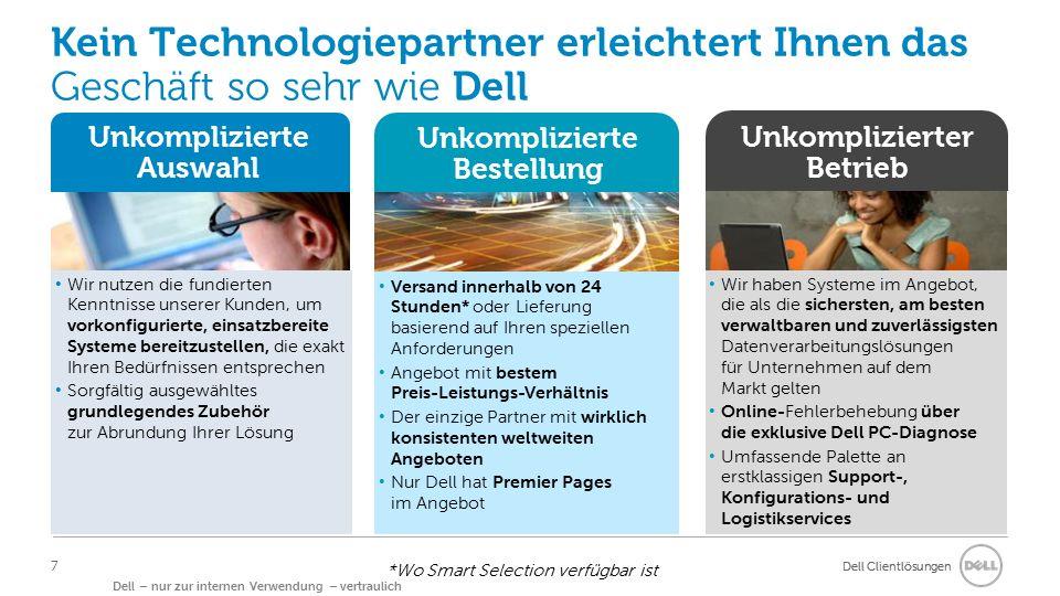 Dell Clientlösungen Dell – nur zur internen Verwendung – vertraulich Kein Technologiepartner erleichtert Ihnen das Geschäft so sehr wie Dell Unkompliz