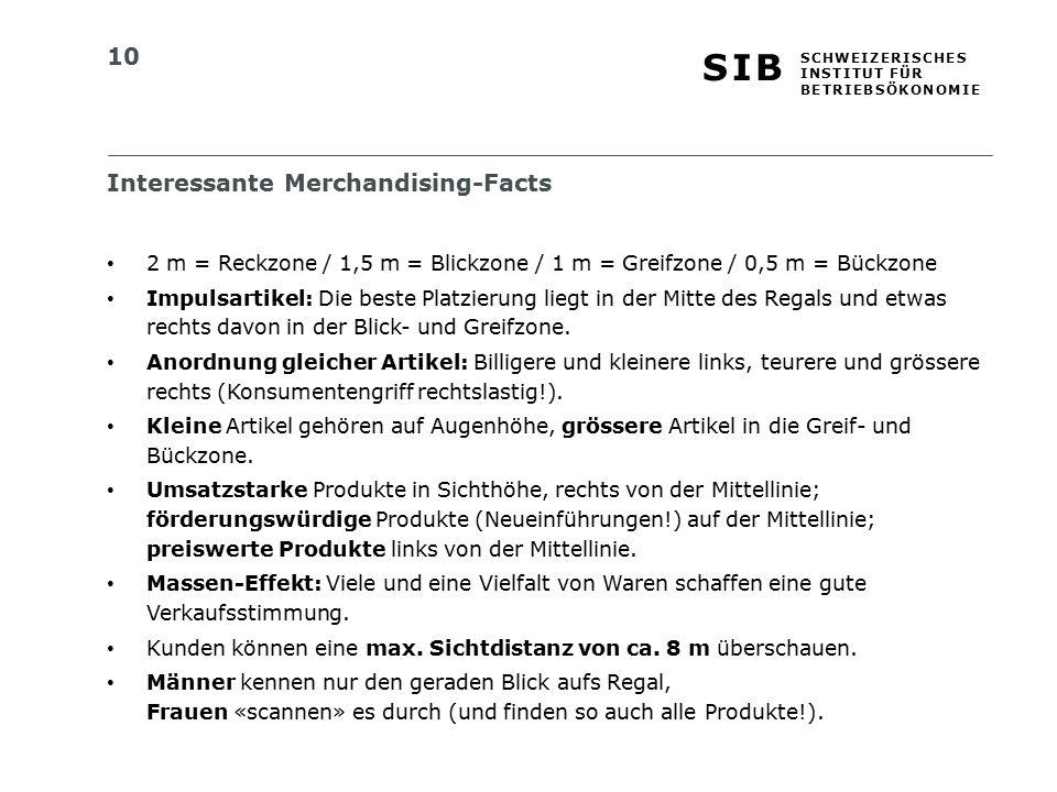 10 S I BS I B S C H W E I Z E R I S C H E S I N S T I T U T F Ü R B E T R I E B S Ö K O N O M I E Interessante Merchandising-Facts 2 m = Reckzone / 1,
